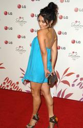 Vanessa Hudgens leggy in small blue dress at Night of Fashion & Technology with LG Mobile Phones - Hot Celebs Home